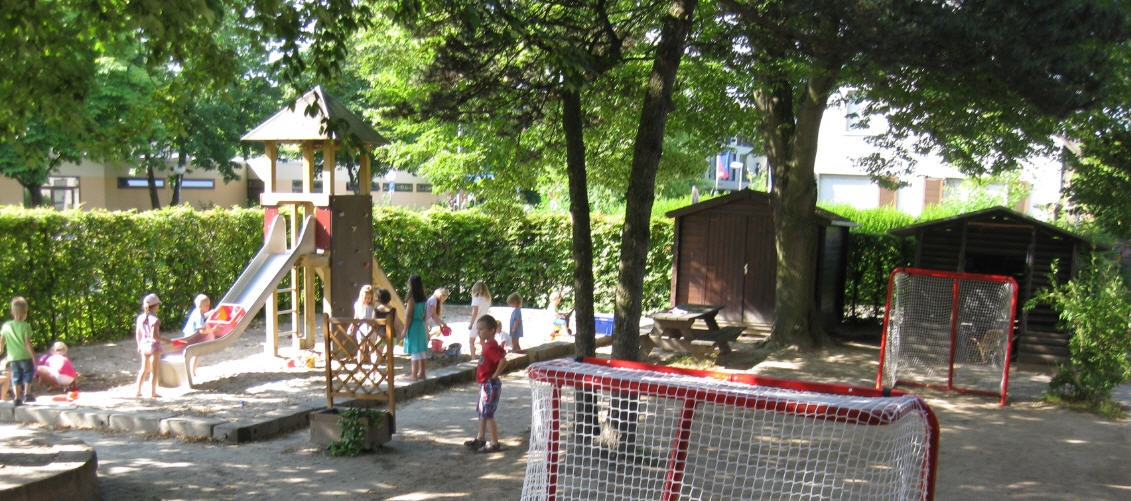 Blick in den Hof des Kindergartens